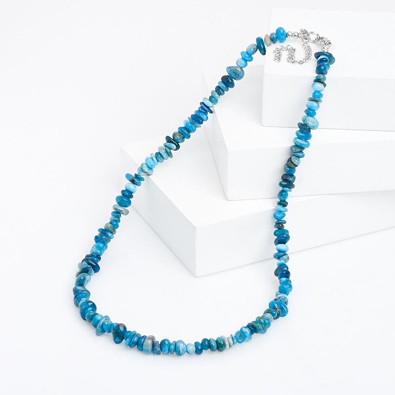 Бусы апатит синий (биж. сплав) 44 см (+7 см)