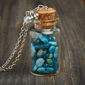 Кулон апатит синий Бразилия (биж. сплав) бутылочка 6 см