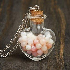 Кулон опал розовый Перу (биж. сплав) бутылочка огранка 3,5 см