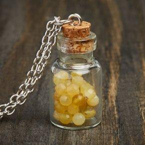 Кулон опал желтый Перу (биж. сплав) бутылочка огранка 3 см