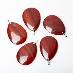 Кулон яшма красная ЮАР (биж. сплав) капля 6,5-7 см