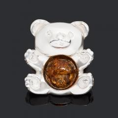 Кулон янтарь Россия (латунь посеребр.) 1,5 см
