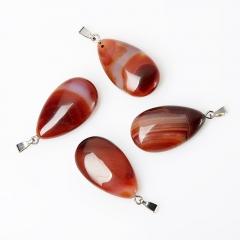 Кулон агат красный Ботсвана (биж. сплав) капля 3,5-4 см