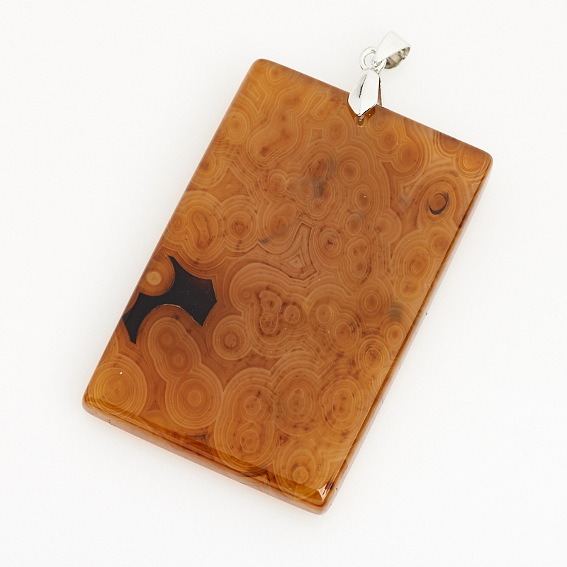 Кулон агат коричневый Ботсвана (биж. сплав) прямоугольник 6-7,5 см