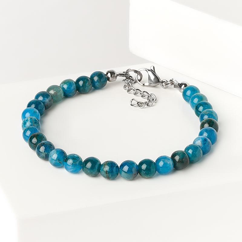 Браслет апатит синий 6 мм 16 см (+3 см) (сталь хир., биж. сплав)