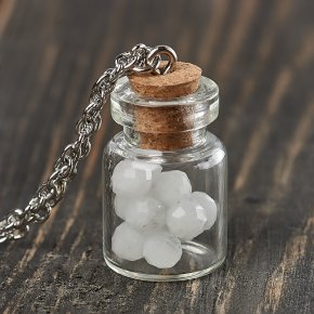 Кулон лунный камень (адуляр) Индия бутылочка огранка (биж. сплав) 2,5 см