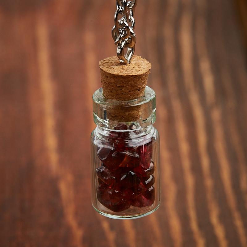 Кулон гранат альмандин Индия (биж. сплав) бутылочка 2,5 см