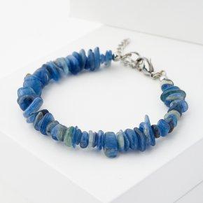 Браслет кианит синий Бразилия (биж. сплав, сталь хир.) 16 см (+3 см)