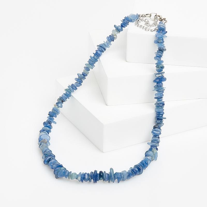 Бусы кианит синий Бразилия 45 см (+7 см) (биж. сплав)