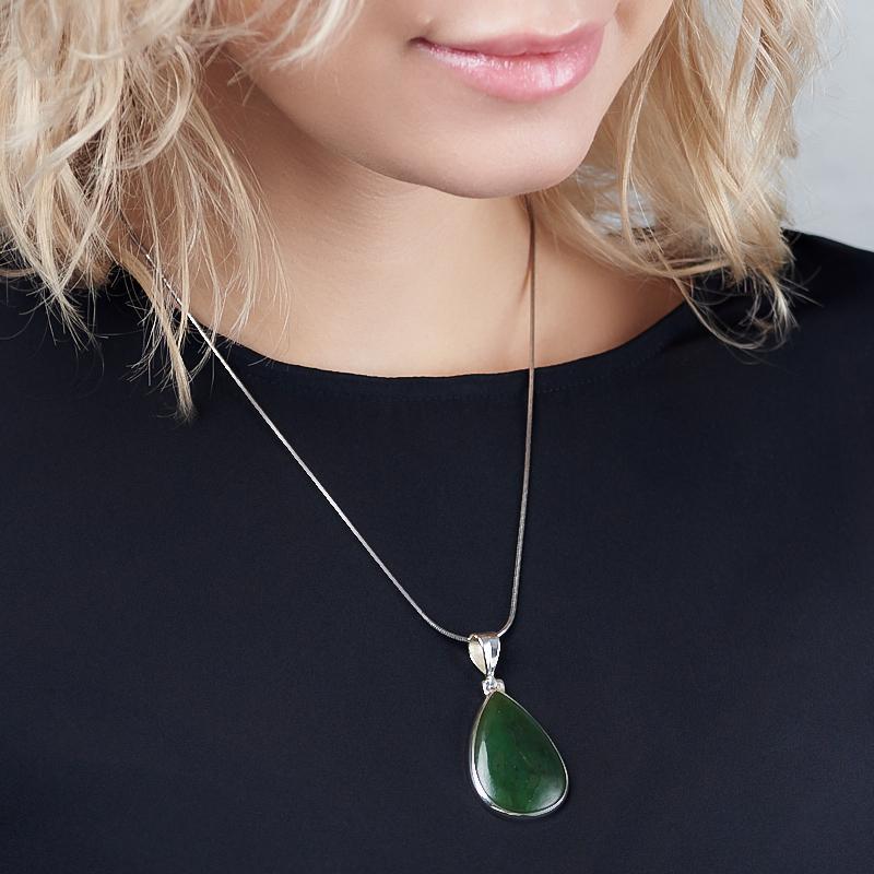 Кулон нефрит зеленый Россия (серебро 925 пр.) капля