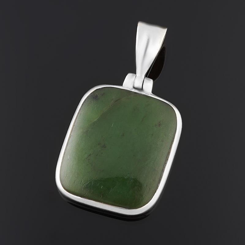 Кулон нефрит зеленый (серебро 925 пр.) прямоугольник