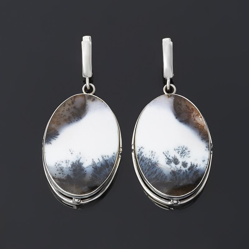 Серьги агат пейзажный (серебро 925 пр.)