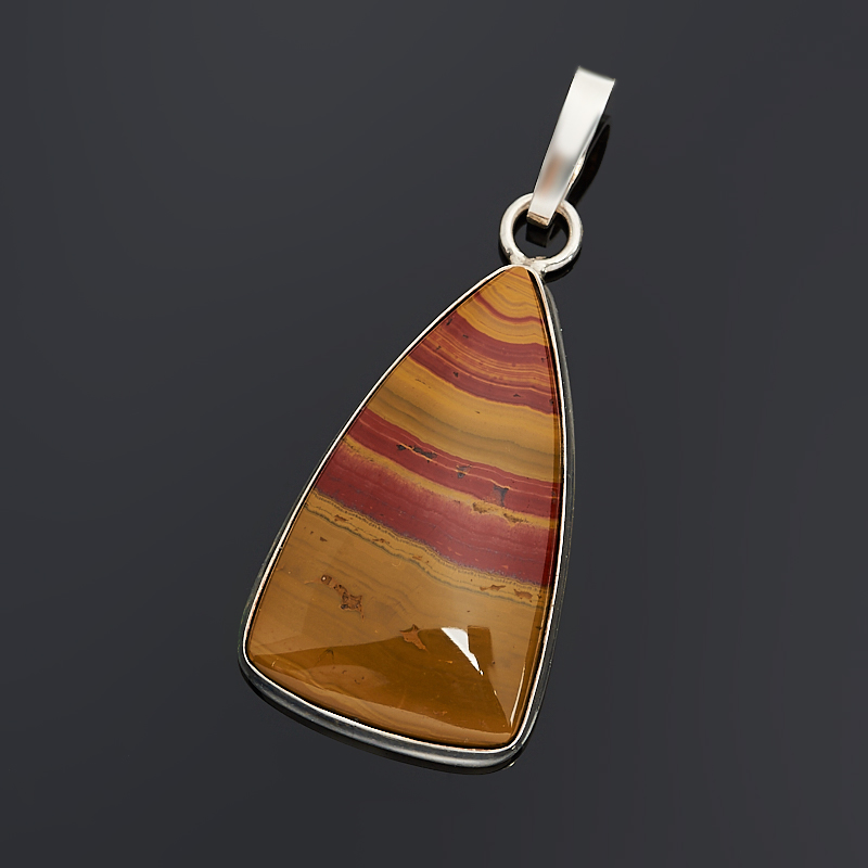 Кулон яшма пестроцветная (серебро 925 пр.) треугольник