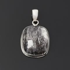 Кулон кварц с турмалином Казахстан (серебро 925 пр.)