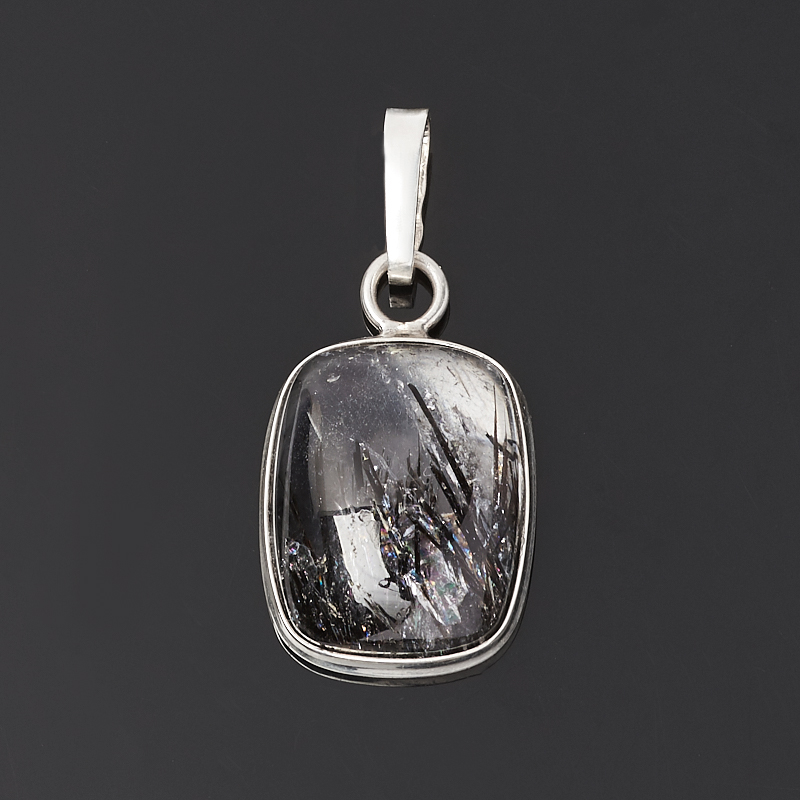 Кулон кварц с турмалином (серебро 925 пр.)