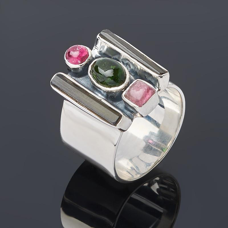 Кольцо турмалин зеленый (верделит), розовый (рубеллит) (серебро 925 пр.) размер 17,5