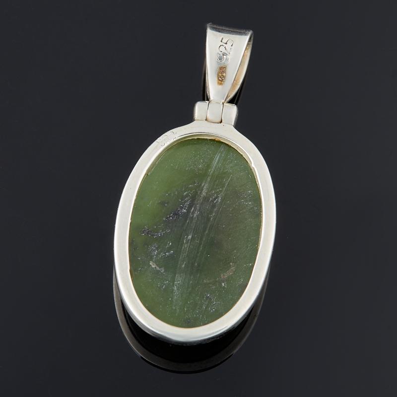 Кулон нефрит зеленый Россия (серебро 925 пр.) овал