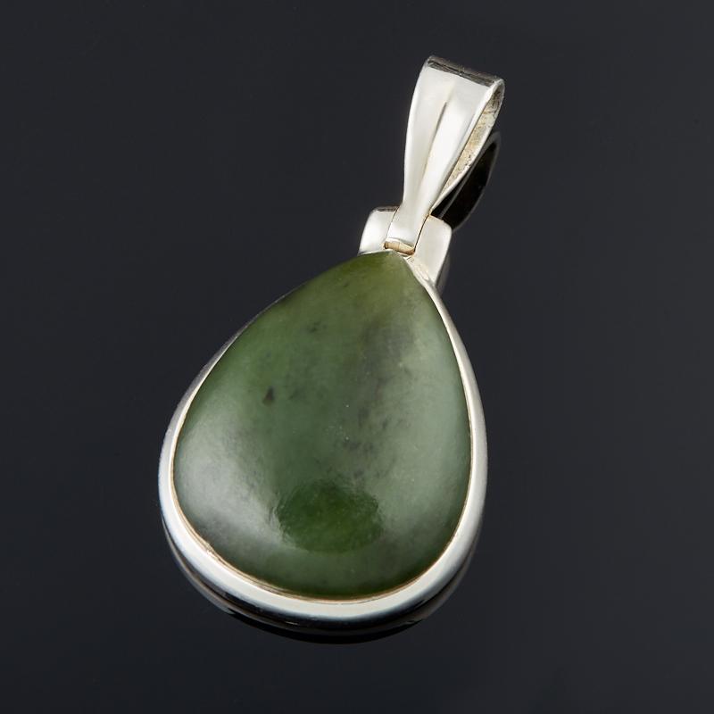 Кулон нефрит зеленый (серебро 925 пр.) капля кулон нефрит зеленый биж сплав 6 5 см