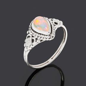 Кольцо опал благородный белый Эфиопия (серебро 925 пр. оксидир.) размер 18