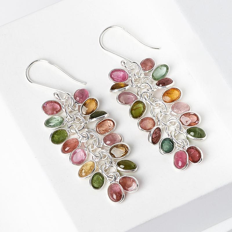 Серьги турмалин зеленый (верделит) желтый (дравит) розовый (рубеллит) (серебро 925 пр.)