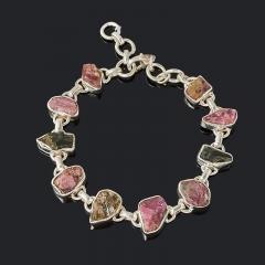 Браслет турмалин зеленый (верделит) розовый (рубеллит) Бразилия 17 см (регулируемый) (серебро 925 пр.)