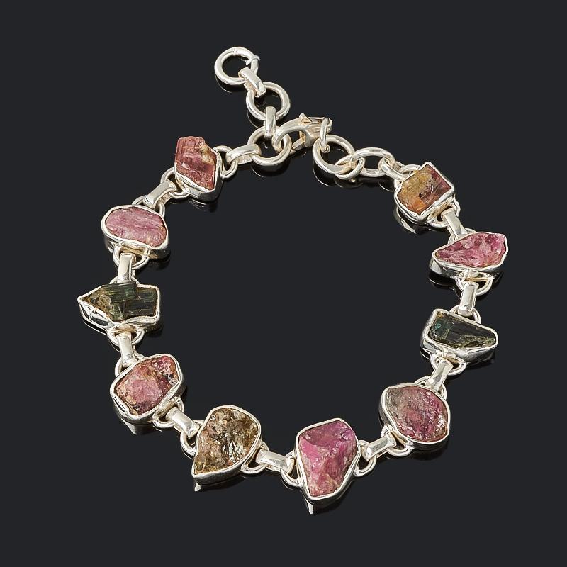 Браслет турмалин зеленый (верделит) розовый (рубеллит) 17 см (регулируемый) (серебро 925 пр.)
