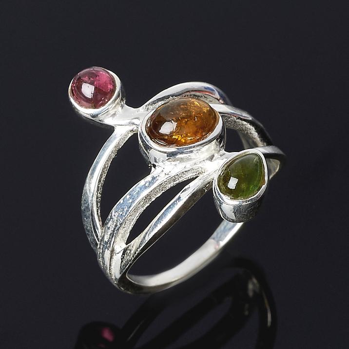 Кольцо турмалин зеленый (верделит), желтый (дравит), розовый (рубеллит) (серебро 925 пр.) размер 18