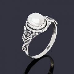 Кольцо жемчуг белый Гонконг (серебро 925 пр. оксидир.) размер 16
