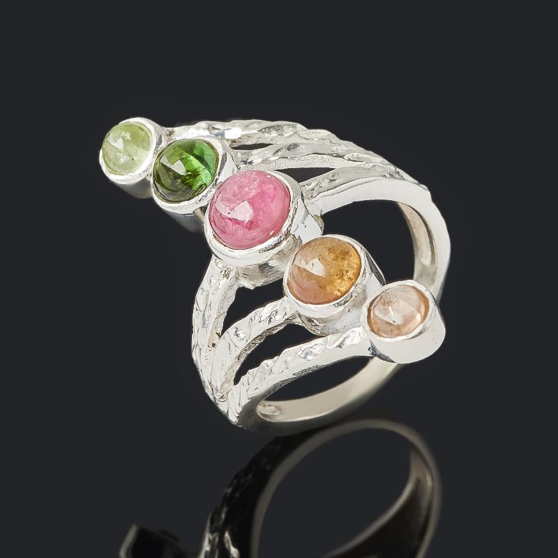 Кольцо турмалин зеленый (верделит), желтый (дравит), розовый (рубеллит) (серебро 925 пр.) размер 18,5