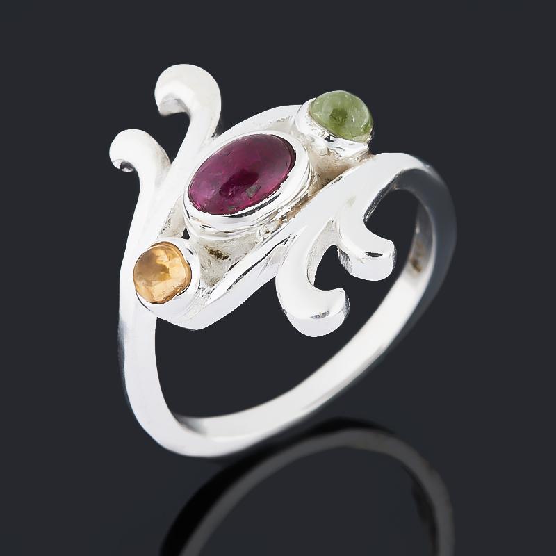 Кольцо турмалин зеленый (верделит), желтый (дравит), розовый (рубеллит) (серебро 925 пр.) размер 17