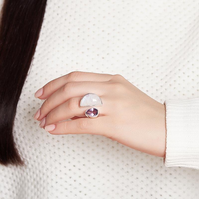 Кольцо микс аметист, лунный камень (серебро 925 пр.) (регулируемый) размер 18,5
