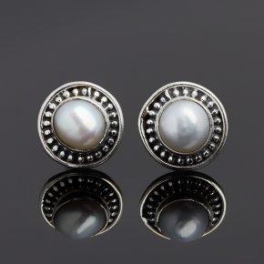 Серьги жемчуг белый Гонконг (серебро 925 пр. оксидир.) пуссеты