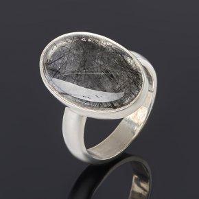 Кольцо кварц с турмалином Бразилия (серебро 925 пр.) размер 17