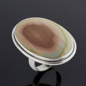 Кольцо окаменелое дерево Мадагаскар (серебро 925 пр. оксидир.) (регулируемый) размер 17,5