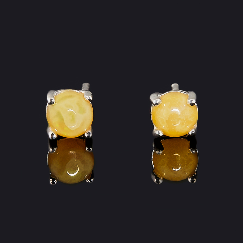 Серьги опал благородный желтый (медь посеребр.) пуссеты