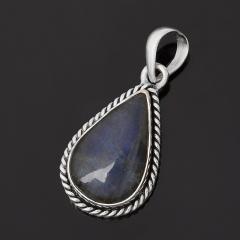 Кулон лабрадор Мадагаскар (серебро 925 пр. оксидир.) капля