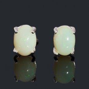 Серьги опал благородный белый Эфиопия (медь посеребр.) пуссеты