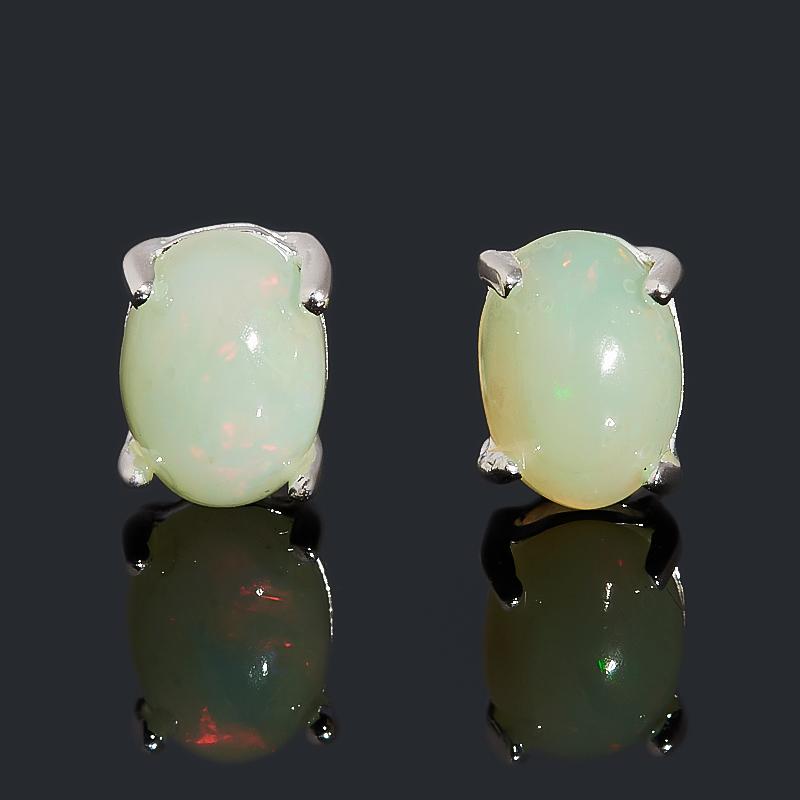Серьги опал благородный белый (медь посеребр.) пуссеты