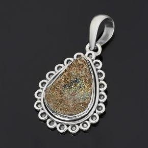 Кулон спектропирит Россия (серебро 925 пр. оксидир.) капля