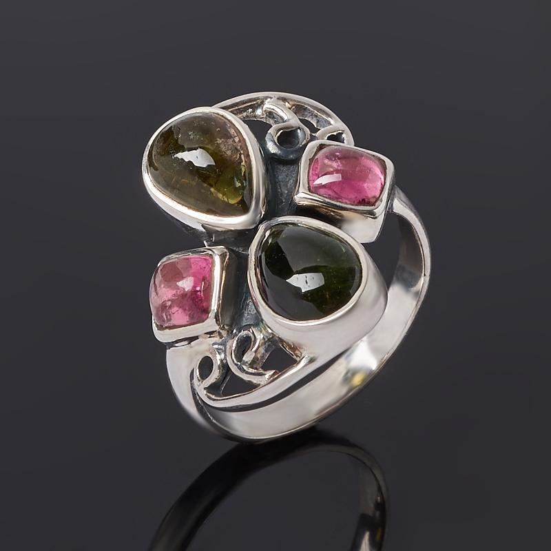 Кольцо турмалин зеленый (верделит), розовый (рубеллит) (серебро 925 пр. оксидир.) размер 17