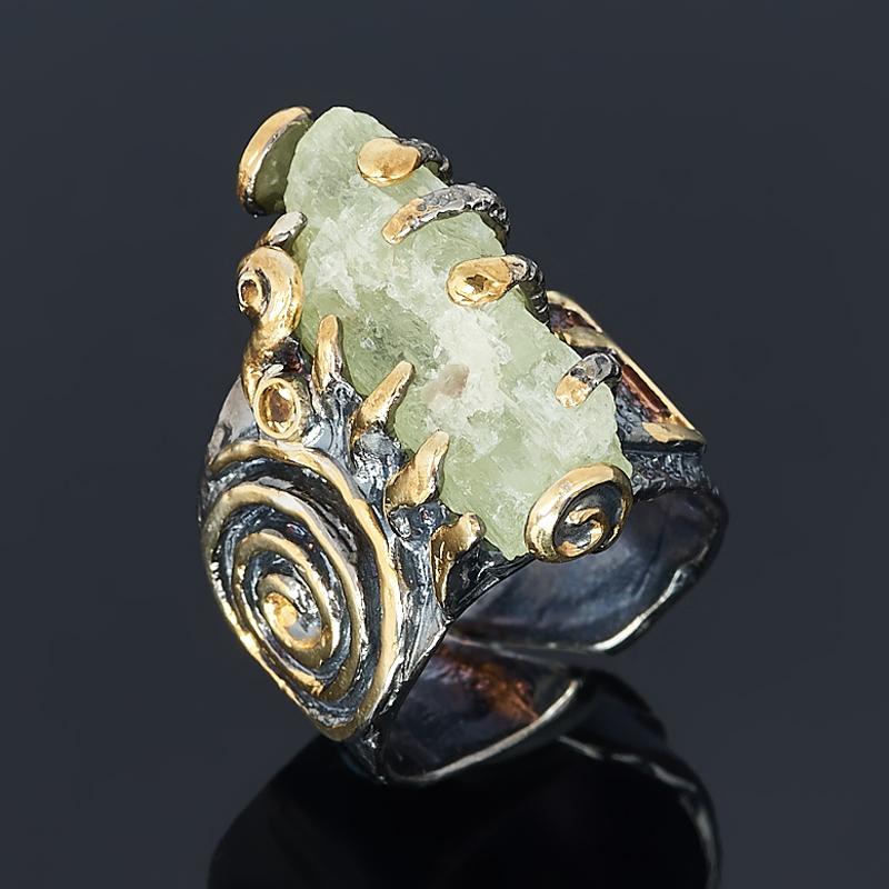 Кольцо берилл желтый (гелиодор) Россия Забайкалье (серебро 925 пр. родир. черн. позолота) размер 18 (регулируемый)