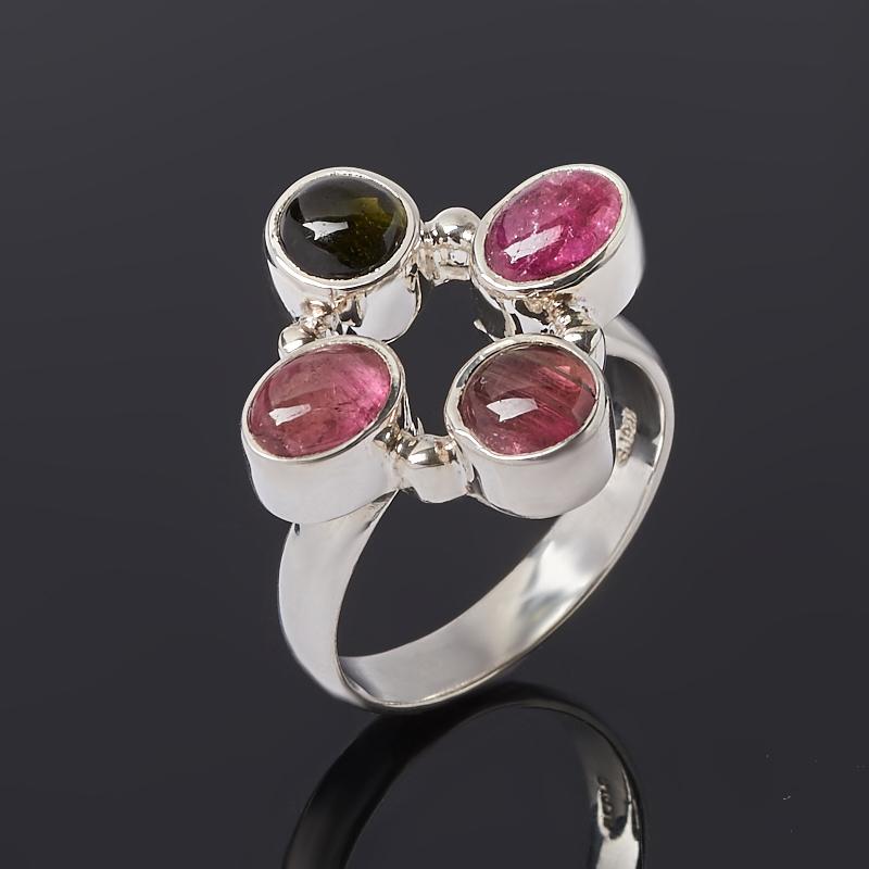 Кольцо турмалин зеленый (верделит), розовый (рубеллит) (серебро 925 пр.) размер 18