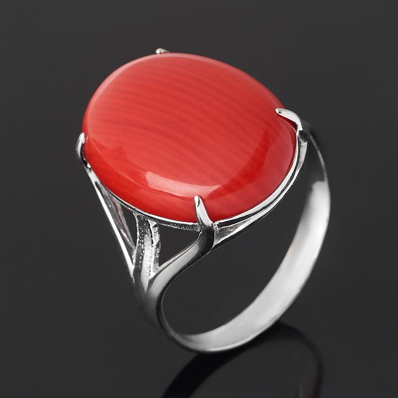 Кольцо коралл красный (серебро 925 пр. родир. бел.) размер 17