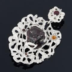 Кулон гранат альмандин Индия (серебро 925 пр. родир. бел. позолота)