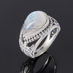 Кольцо лунный камень (адуляр) Индия (серебро 925 пр. оксидир.) размер 19,5