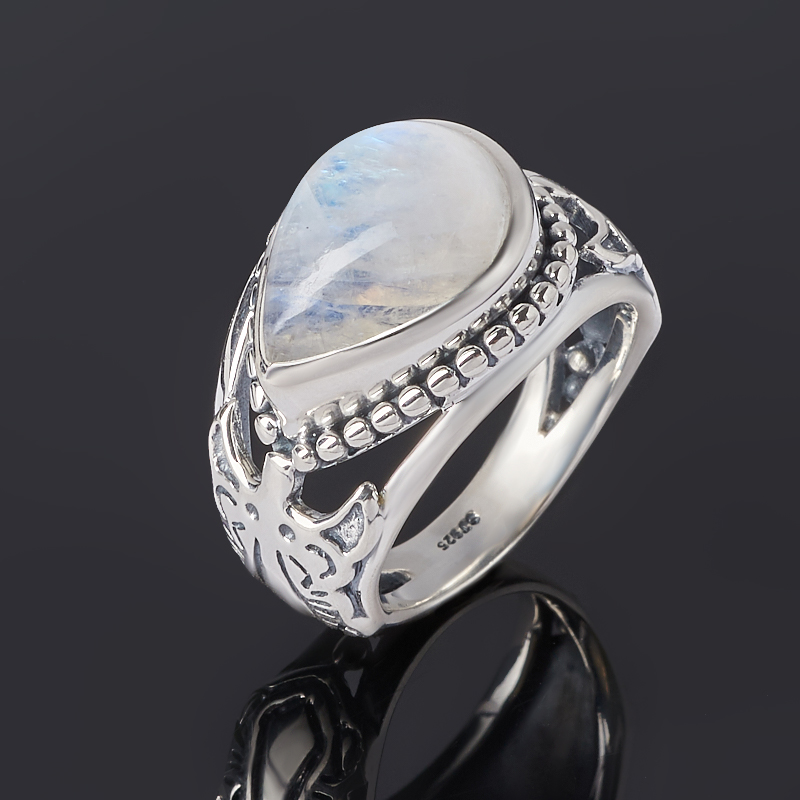Кольцо лунный камень (адуляр) (серебро 925 пр. оксидир.) размер 19,5