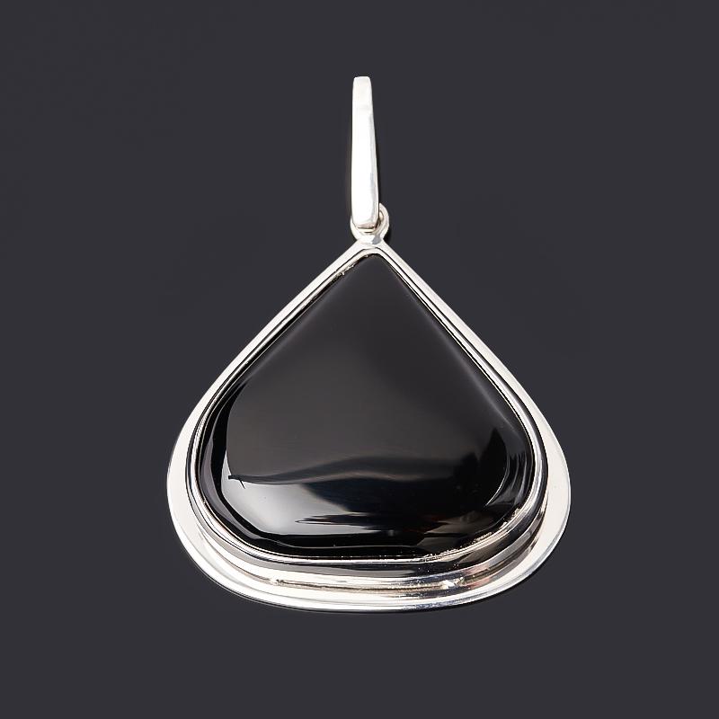 Кулон агат черный Бразилия (серебро 925 пр. родир. бел.)