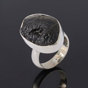 Кольцо тектит Лаос (серебро 925 пр.) размер 17