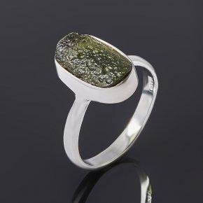 Кольцо молдавит Чехия (серебро 925 пр.) размер 18