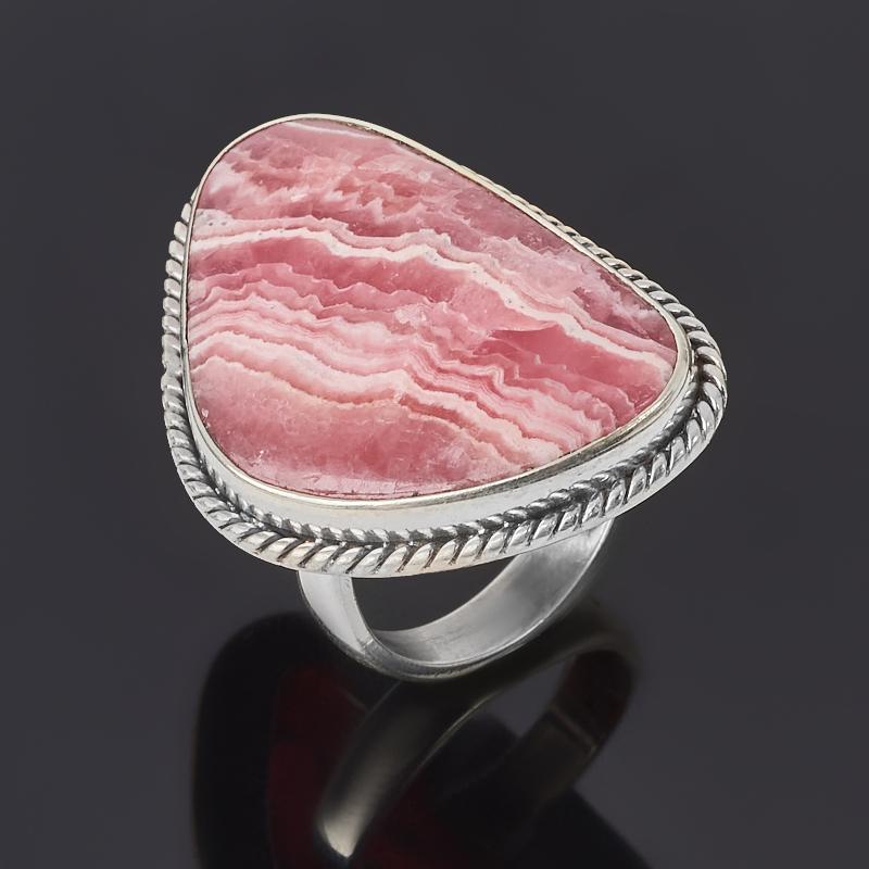 Кольцо родохрозит Аргентина (серебро 925 пр. оксидир.) (регулируемый) размер 17,5